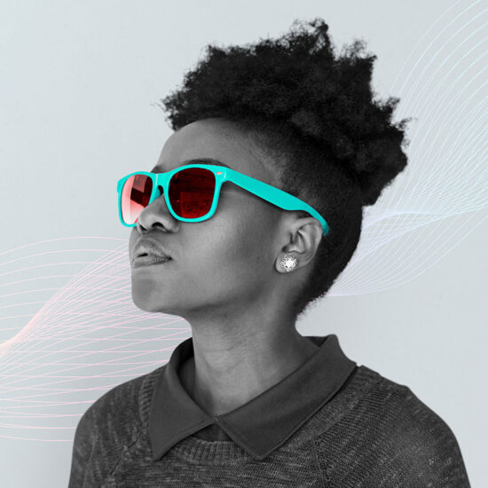Photo of Woman Looking Up with Glasses