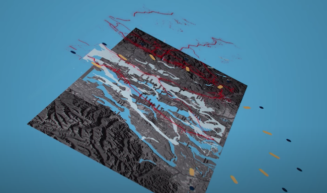 A map with layered graphic elements